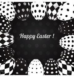 black and white background easter eggs vector image