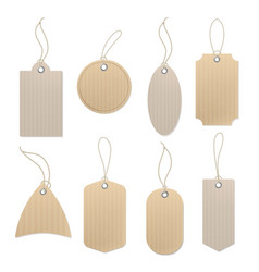Brown craft labels different paper vintage blank vector