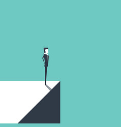Businessman standing on edge vector