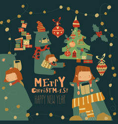 cartoon christmas set with little girl and bear vector image