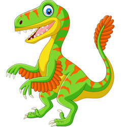 cartoon green velociraptor on white background vector image