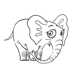 Cartoon image of cute elephant vector