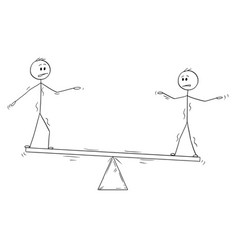 Cartoon of two businessmen standing on seesaw and vector
