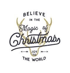 Christmas typography quote design believe in vector