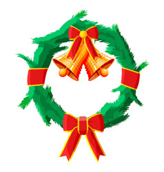 christmas wreath with red bow and gold bell vector image