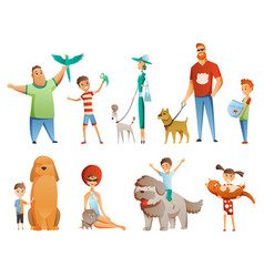 collection people with pets isolated on white vector image