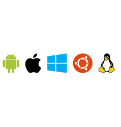 Collection top brand operating system logos vector