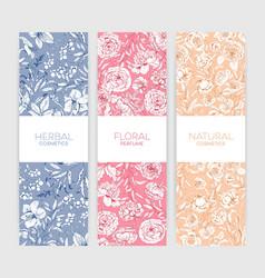 Collection vertical botanical backdrops vector