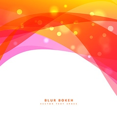 colorful bokeh and wave background design vector image