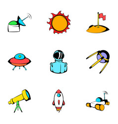 Cosmos icons set cartoon style vector