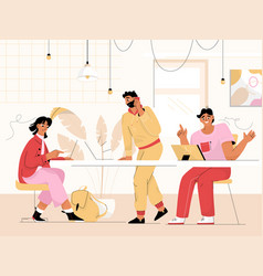 coworking office with working people vector image