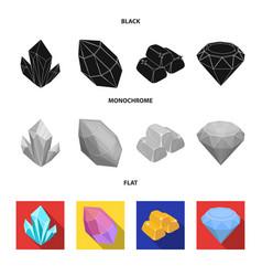 crystals minerals gold bars precious minerals vector image