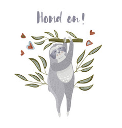 cute cartoon sloth holding on a branch vector image