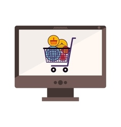 Desktop computer with full shopping cart vector