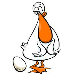 Duck bird farm cartoon character with egg vector