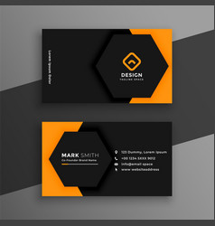 Elegant minimal black and yellow business card vector
