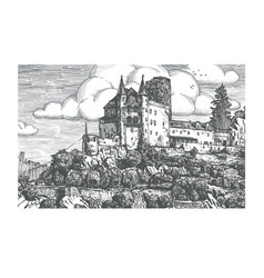 Engraved medieval castle vector