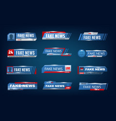 fake news bars tv screen lower banners vector image