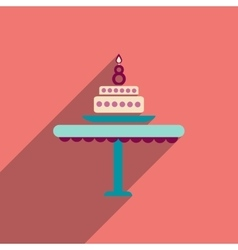 Flat icon with long shadow candle cake vector