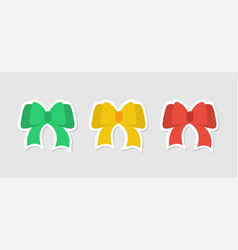 flat stickers festive bows bows red green and vector image