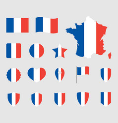 france flag icons set french flag symbol vector image