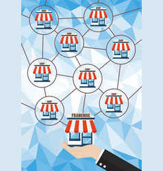 franchise business system with polygon background vector image