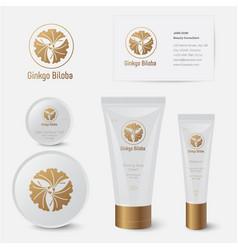 Ginkgo biloba organic cosmetics mockup vector