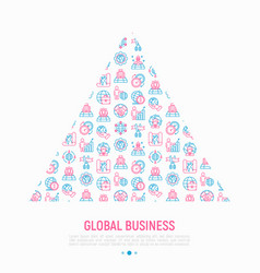 Global business concept in triangle vector