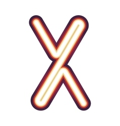 Glowing neon letter X vector image
