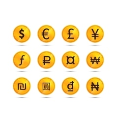 Golden coins with main worlds currency signs vector