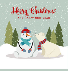 gorgeous christmas card with snowman and polar vector image