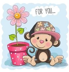 Greeting card Cute Cartoon Monkey with a flower vector