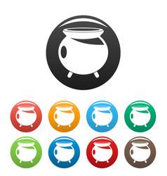 Halloween cauldron icons set color vector