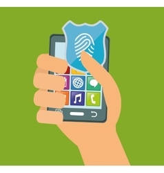 hand holds smartphone internet security vector image