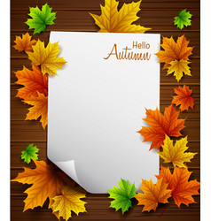 hello autumn paper with wood background vector image
