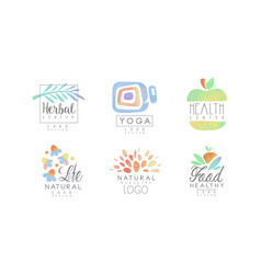Herbal center logo design collection healthy food vector