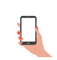 human hand holding smartphone with empty screen vector image
