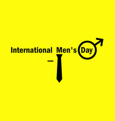 International mens day male symbol and tie on a vector