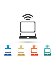 laptop and wireless icon on white background vector image