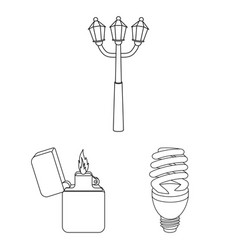 Light source outline icons in set collection for vector