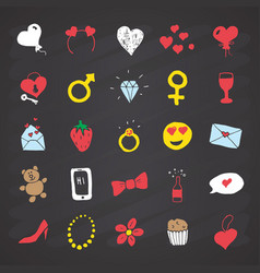 love and valentine doodle icons hand drawn signs vector image