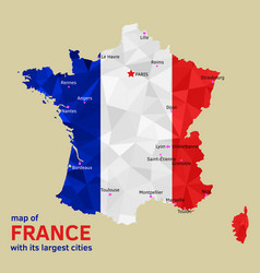 map france and its largest cities vector image