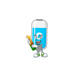 Mascot cartoon design wall hand sanitizer vector