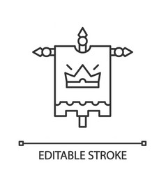 medieval king flag linear icon vector image