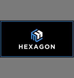 Mh hexagon logo design inspiration vector
