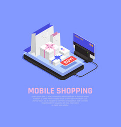 mobile shopping and ecommerce concept vector image