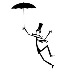 Mustache man in the top hat with umbrella isolated vector