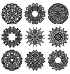 ornament set ornamental round lace collection vector image