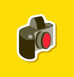 paper sticker on stylish background camera vector image