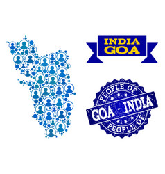 People collage of mosaic map of goa state and vector